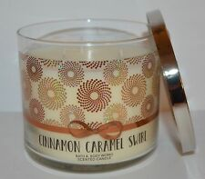 NEW BATH & BODY WORKS CINNAMON CARAMEL SWIRL SCENTED CANDLE 3 WICK 14.5 OZ LARGE