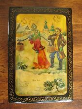 vintage soviet russian painted lacquer box palekh miniature signed fairy genre
