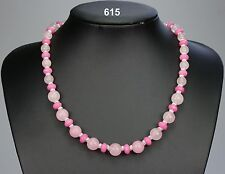 Gorgeous rose quartz & pink morganite bead necklace, delicate silver spacers 18""