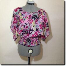 Wet Seal Pink and Purple Sheer Open Back Batwing Sleeve  Top M
