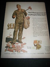 "ORIGINAL 1943 ""BABY RUTH"" CURTISS CANDY SOLDIER WORLD WAR II PRINT AD"