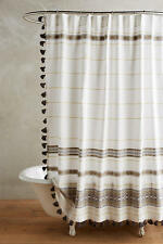 Anthropologie Diamanta Striped Shower Curtain with gray Poms NWT