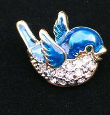 "GOLD CLEAR RHINESTONE SPRING FLYING BLUE BIRD PIN BROOCH JEWELRY 1"" PRECIOUS"