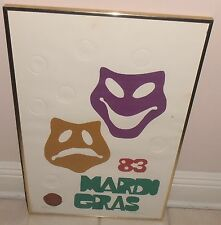 VINTAGE 1983 MARDI GRAS ARTIST PROOF SIGNED PRINT POSTER NEW ORLEANS FOUNTAIN