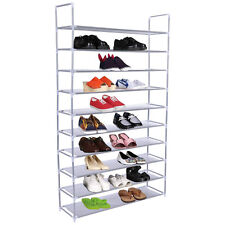 50 Pair 10 Tier Space Saving Storage Organizer Free Standing Shoe Tower Rac