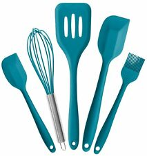 Silicone Kitchen Utensil Set (5 Piece) in Hygienic Solid Coating Teal Blue Cook