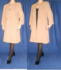 Women Beige Coat Classy Calf Length One Button Wool 80% Cashmere Size 16