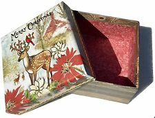 pUNCH sTUDIO Trinket Christmas Box ~ Deer Forest Friends 61060