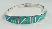 ".950 silver green opal bracelet with long curved centerpiece 8"""" long"