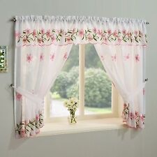 FLORAL/APPLES KITCHEN WINDOW SET VOILE NET CURTAINS SLOT TOP WITH VALANCE