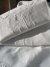 Antique French linen hand embroidered trousseau sheet & 2 pillowcases - CM