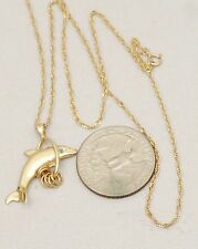 Vintage Solid 14K Gold Singapore Chain Necklace w/Dolphin Sea Pendant Topaz Eye