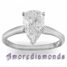 1 ct I VS natural pear shape diamond solitaire engagement ring platinum size 5.5