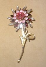 Long Slender Rhinestone Flower Pin by Judy Lee in Pinks & Purple