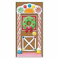 Gingerbread House Door Cover - 76 x 152 cm - Winter & Christmas Party Decoration
