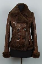 RARE WOMENS ICEBERG HISTORY LAPIN FUR SHEARLING LEATHER TRENCH COAT JACKET S(42)