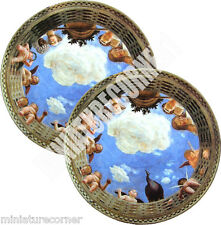 Dolls House Victorian Ceiling centre panels x 2 Mural 1/12th scale #12