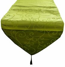 35cm x 152cm Lime Green Damask Table Runner - For Christmas Dining - (MR1LG)