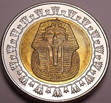 Gem Unc Bi-Metal Egypt 2007 1 Pound~King Tutankhamun~Read The History~Free Ship
