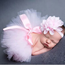 Neugeborenes Kopfschmuck Blume+Kleider Baby Mädchen Foto Prop Kostüm Outfit Neu