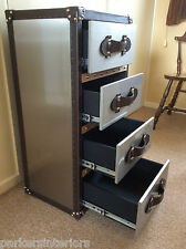 Quality Luggage Trunk Steampunk Big Bedside Chest of Four Drawers Aluminium Look