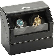 Diplomat Double 2 Watch Winder - Black Leather - Battery or A/C - Gray Interior