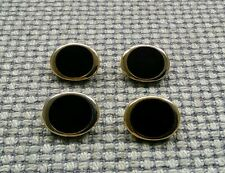 4 x Black Gold Tone Metal Look Oval Buttons 18mm Vintage Gothic Steampunk Style