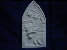 F041 - Ceramic Bisque Ornament - Stained Glass Window - Flat- Ready to Paint