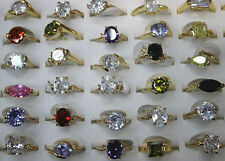 Wholesale Lots 30pcs Colorful cubic Zircon&Gold Plated Charm Women Ring Jewelry
