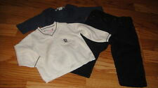 BOUTIQUE BONPOINT 6M 6 MONTHS 3PC SET SWEATER SHIRT PANTS BOY