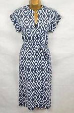 JAEGER *Recent* Blue linen IKAT Shirt dress UK 10