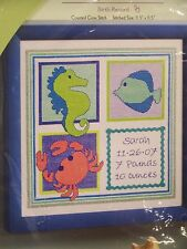 "Bucilla Counted Cross Stitch Kit 11.5"" x 11.5"" Birth Record ""Deep Blue Sea"" Baby"