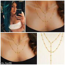 Bellissima collana multifilo rosario con catenella centrale - Colore oro