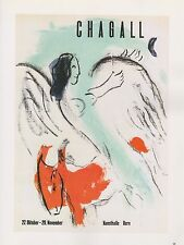 "1989 VINTAGE ""CHAGALL ANGEL & GOAT"" BERNE, MOURLOT MINI POSTER COLOR Lithograph"