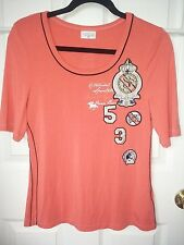 NWOT Sportalm Kitzbuhel Knit Top, Size 38, Salmon Color, Scoop Neck Short Sleeve