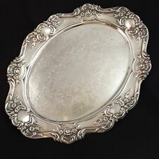 """Towle Old Master 13"""" Waiter Oval Tray Plate Silverplate Silver Embossed 4064"""