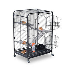 "PawHut Pet Cage 37"" Cat Portable Kennel Steel Rabbits House For Animals Tray"