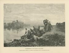 ANTIQUE WASHERWOMAN LAUNDRY CLOTHES WASHING BASKETS BANKS OF SEINE RIVER PRINT