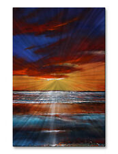 Metal Wall Decor Ocean Sunset Wall Sculpture 'Reflection Shimmers'