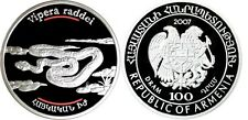 2007 Armenia Large Silver  Proof 100 Dram Snake-Viper