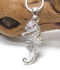 w Swarovski Crystal White Gold Plating Sea Horse Seahorse Pendant Necklace