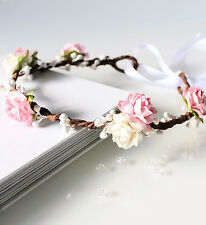 Pink Rose Floral Crown, Flower Girl Flower Crown, Bridesmaid Garland, Wedding
