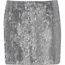 River Island  Embellished Sequin Mini Skirt 18  Silver