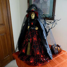"""HALLOWEEN WITCH DOLL W/BROOM, JEWELS, SPIDER, 24""""- TABLE TOP- NEW - STUNNING!"""
