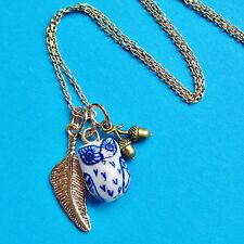 NIGHT OWL TWIT TWOO CHARM NECKLACE GOLD ACORN FEATHER LEAF PENDANT BIRD BARN