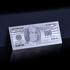 24kt Silver Color US $100 One Hundred Banknote $100 USD Foil Dollar Bill