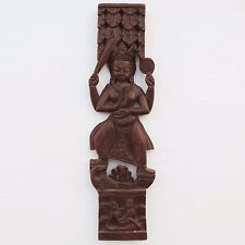 Antique Hindu India Wood Panel Depicting Goddess with Cama Sutra Erotic Scene.