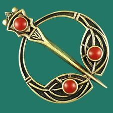 Vintage Style Celtic TARA Brooch Scarf  Kilt Dancing Pin Bronze With Red Agate