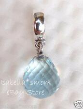 NEW Pandora ICE BLUE Faceted Beauty MURANO GLASS Dangle/HANGING Charm~Bead WINTE