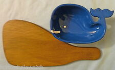 WOODEN WHALE SHAPED CHEESE BOARD & BLUE CERAMIC WHALE BOWL cheese & crackers dip